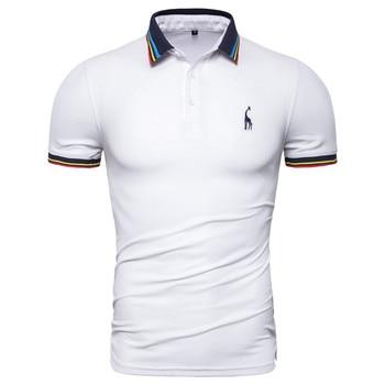Dropshipping 2019 New Summer Cotton Polo Men Solid Deer Embroidery Short Sleeve Polo Shirt Men Fashion Polo Giraffe Mens Shirts