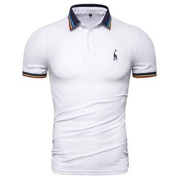 a37e632c556 Dropshipping 2019 nuevo Polo de algodón de verano para hombre, camisa de  Polo de manga corta con bordado de ciervo sólido para hombre, Polo de moda  para ...