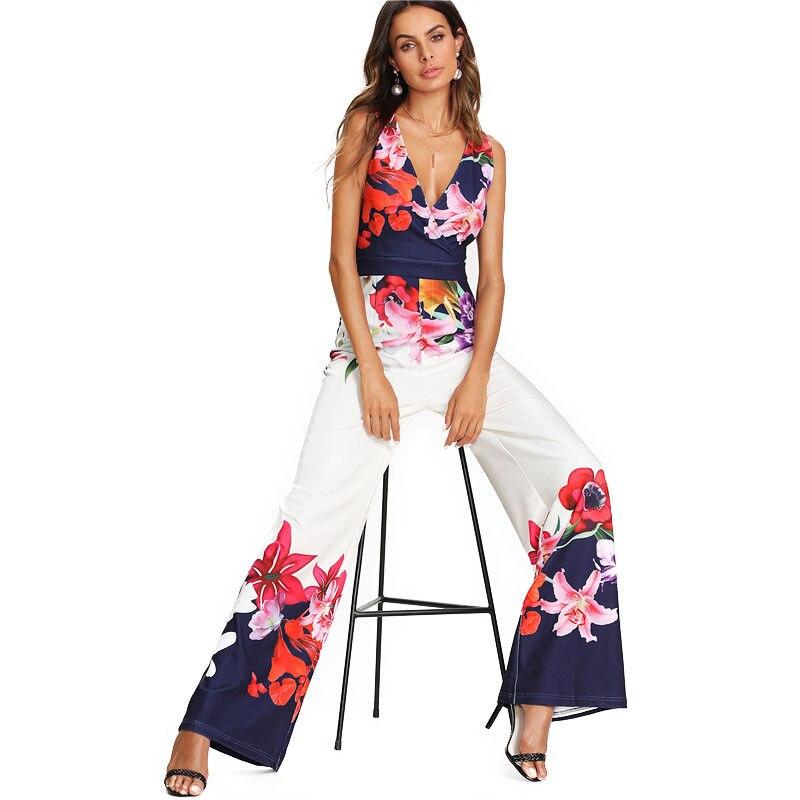 Women off shoulder floral print casual clubwear party long wide legs  jumpsuit