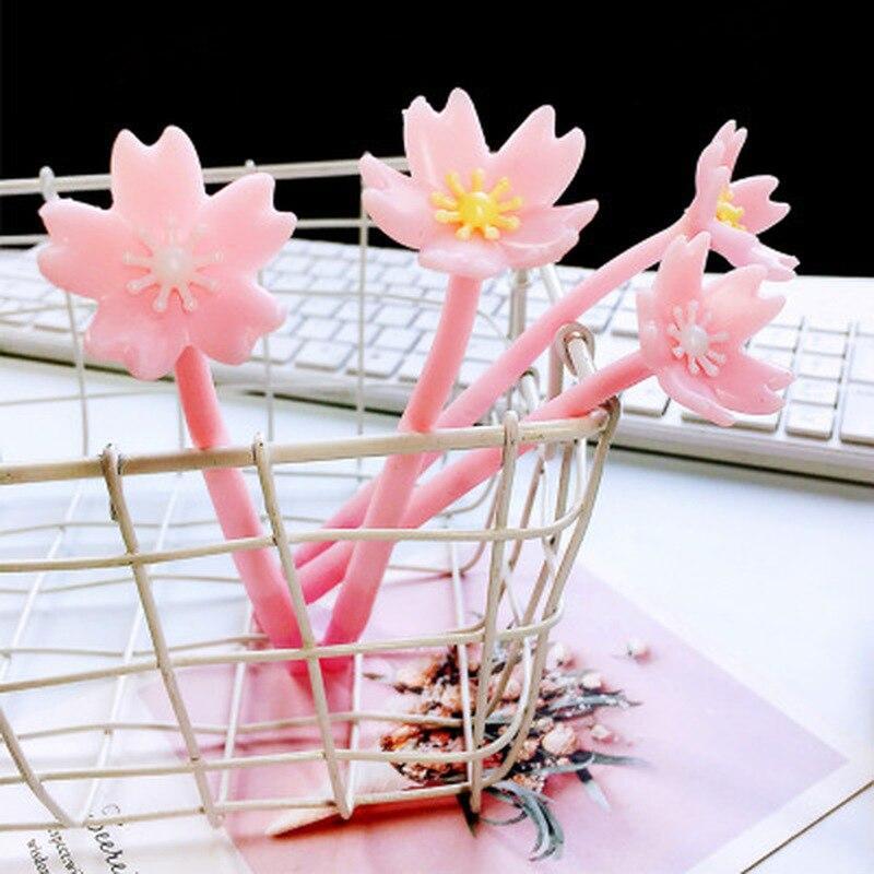 1pcs Cherry Blossoms Gel Pens 0.5mm Cute Pens Novelty Stationery Kawaii Gel Pen Student Signing Pen Kawaii School Supplies