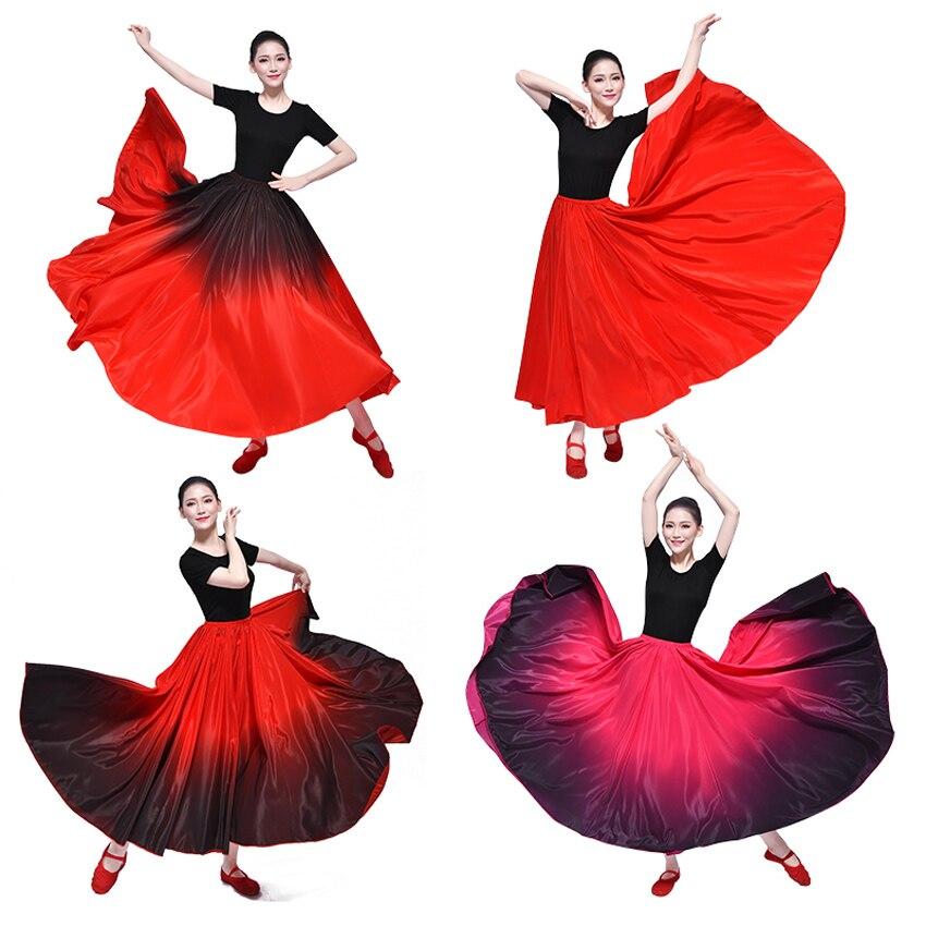 Red Black Spanish Big Hemline Flmenco Skirt Belly Dance Spain Traditional Ballroom Stage Wear Performance Woman Oriental Dress