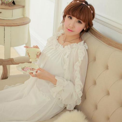 Chiffon Nightgown Women's Long Pijamas Two Color Princess Sleepwear Pink and White Nightshirt Long Robe D54
