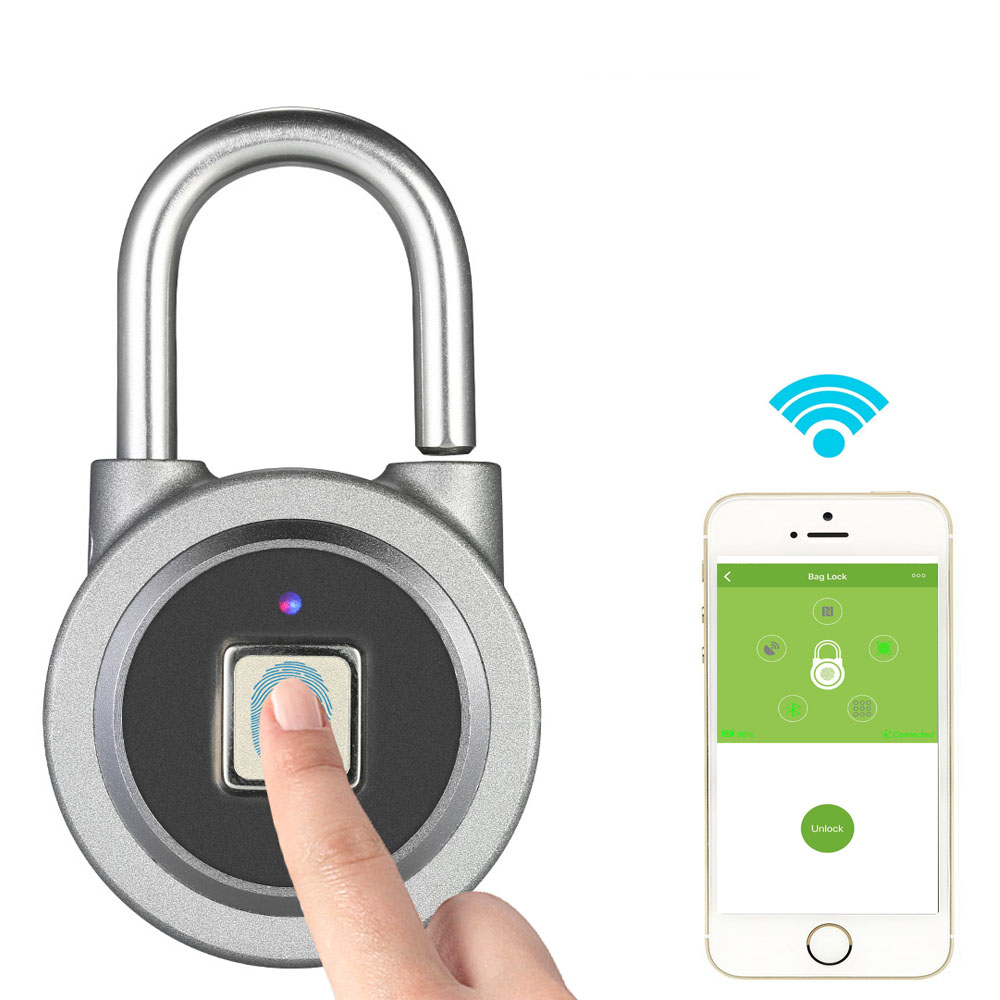 Fingerprint Smart Keyless Lock Waterproof APP Button Password Unlock Anti-Theft Padlock Door Lock for Android iOS System