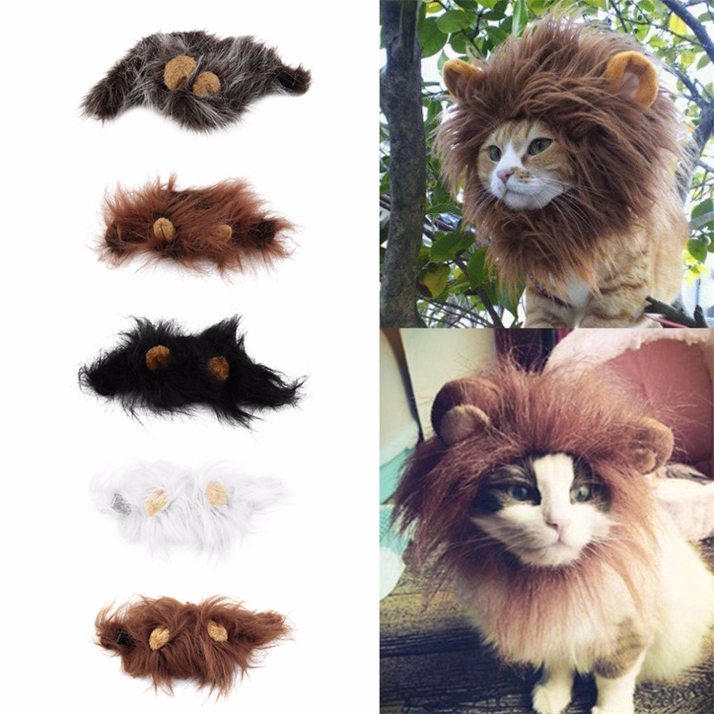 1 st. Lovely Pet Costume Lions Mane Vinter Varm Wig Cat Halloween Jul Party Klä Upp Med Örhäft Djurkläder Katt Fancy Dress