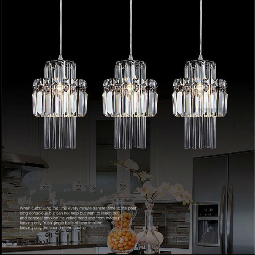 New Modern Chandelier pendientes Crystal Lighting Lustre bombillas led lamparas with 100% Top K9 Crystal D17cm H28cm