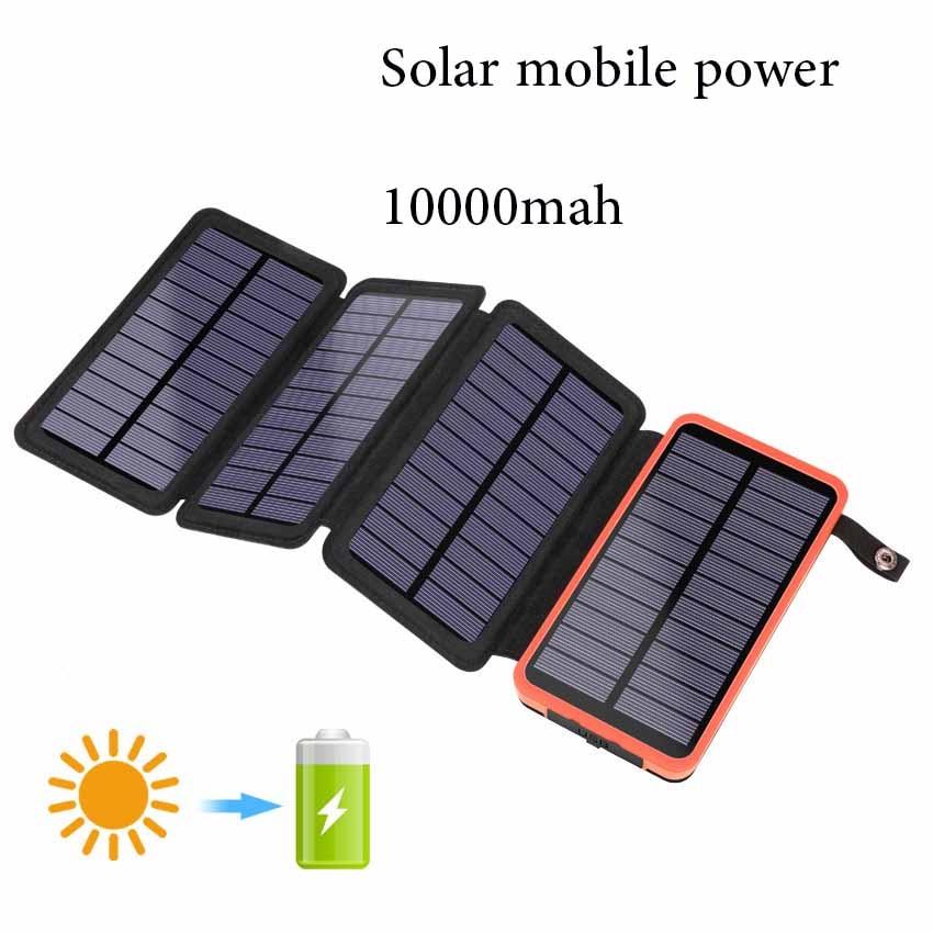 Pliage Solaire batterie sunpower 10000 mah Poverbank Portable batterie externe pour téléphone Portable Chargeur Extérieure D'urgence batterie externe