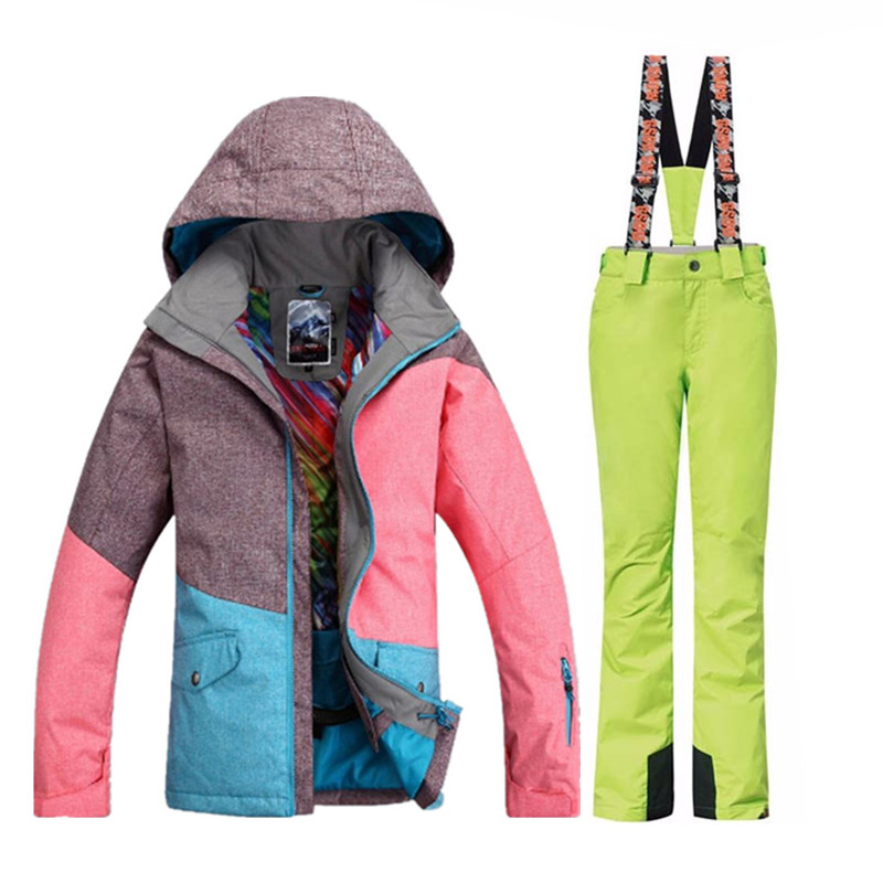 Gsou Snow marque imperméable à l'eau 10000 combinaison de Ski pour les femmes veste de Ski pantalon pour les filles hiver Ski de montagne Sport costume - 5