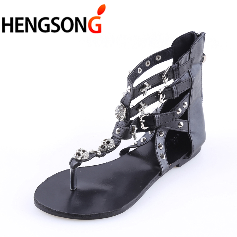 Metail Skull Fashion Sandals For Women Summer Shoes Roman Style Gladiator Sandals Shoes Woman Flip Flop Flats Female Beach Shoes gladiator sandals 2017 fock women summer comfort flats fashion creepers platform casual shoes woman 2 colors