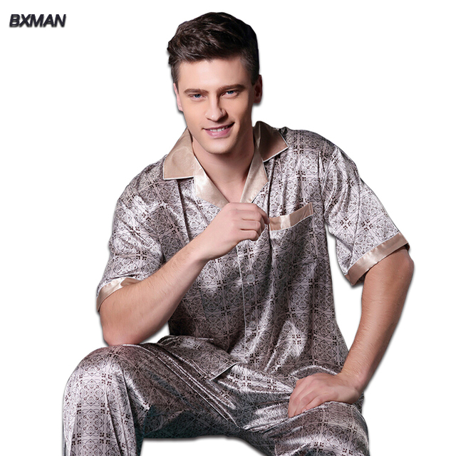BXMAN Brand Men's Modern Pijamas Hombre Men's Satin Pajamas Rayon Print Turn-down Collar Men Silk Pajamas Modal 219