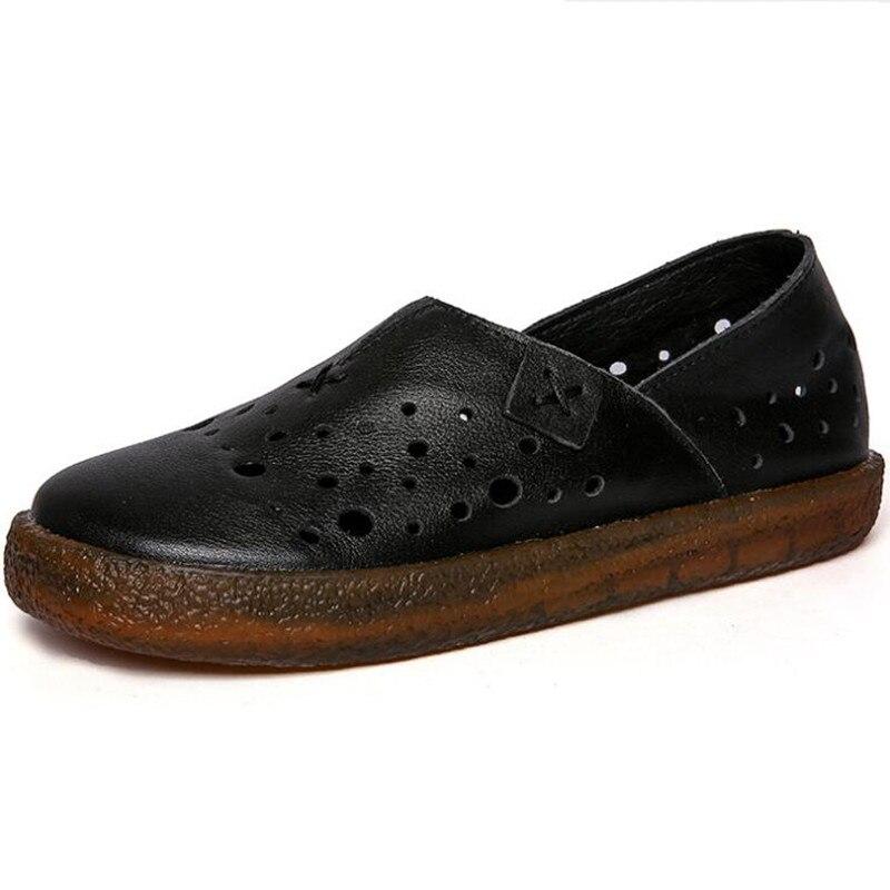 Chaussures Respirant Beige Mou Antidérapant Cuir Femmes Creux Vache Confort Appartements Fond marron Rétro En Nouveau noir Printemps Plat 2019 blanc Casual ymNvO8n0Pw