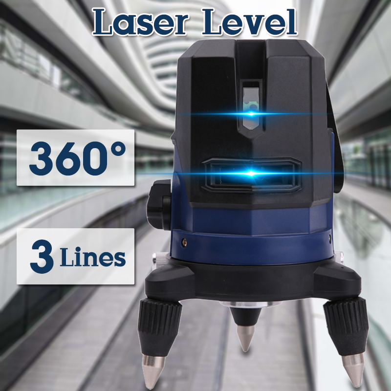 360 Barra Rotante Funzione 3 Linea Blu Croce Linea di Fascio di 3D Self Leveling Orizzontale Verticale Level Laser di Misura Interna/ outdoor
