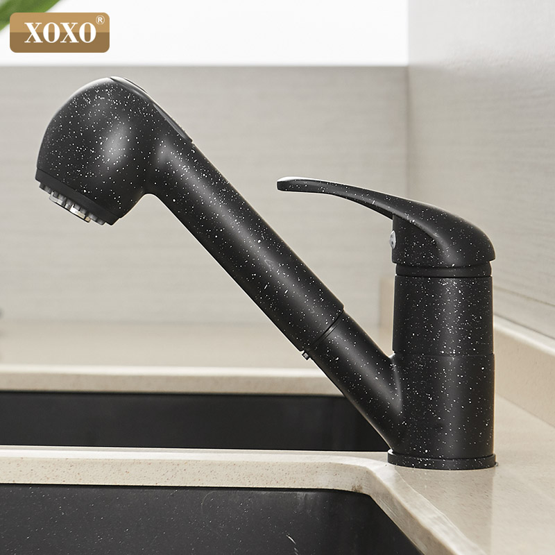 XOXO  Brass Kitchen Faucet 360 Degrees Pull Out Spray Mixer Tap Crane Polished Black Of Water Saving  Torneira Cozinha  3304H
