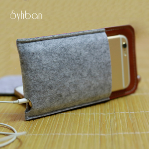 NEW for iPhone 7/ 6 SE and for iPhone X / 8P case for iPhone case sleeve wallet light grey wool felt tan leather