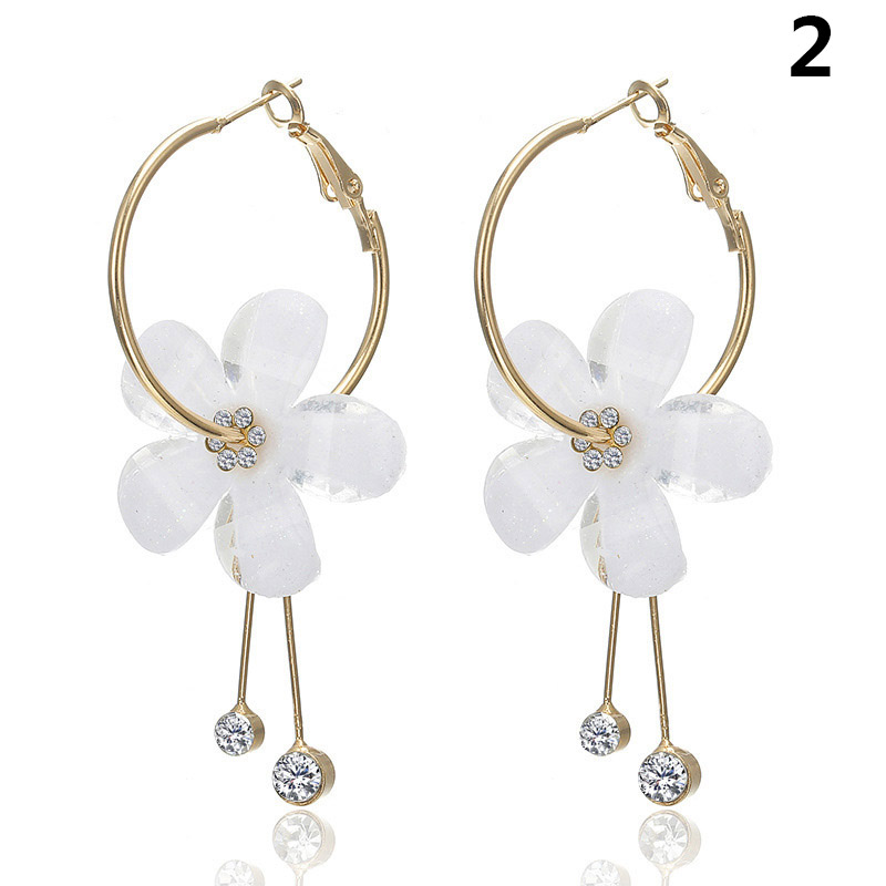 Hot Women Round Circle Dangle Earrings Sweet Flower Five pointed Star Decor Luxury Jewelry HD88 in Drop Earrings from Jewelry Accessories