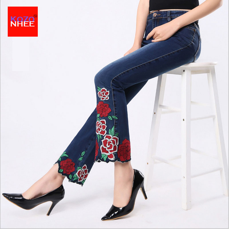 Plus Size Flared Jeans With High Waist Stretching Jeans With Embroidery With Bell-bottoms Jeans Stretch Ankle-Length Large Size american apparel bf women jeans high waist floral 3d embroidery high waist ladies straight denim pants jeans bottoms plus size
