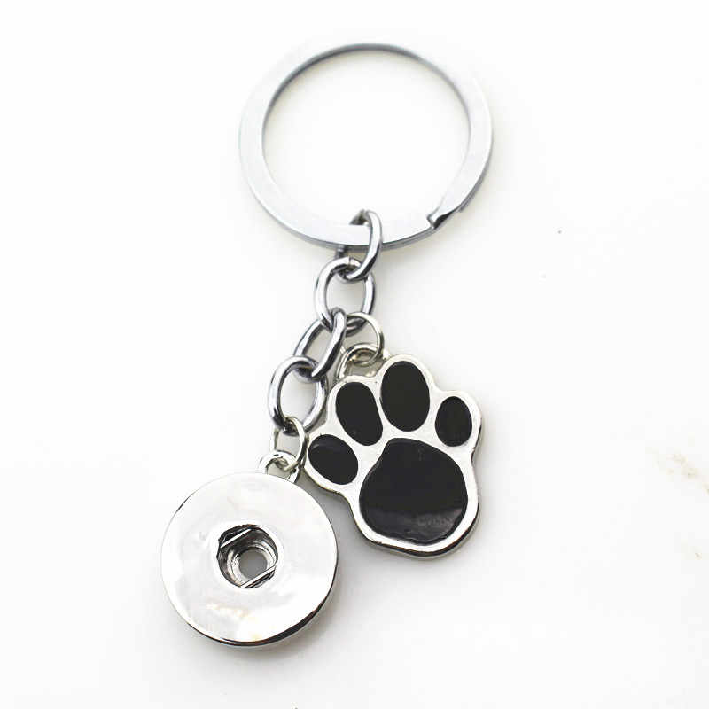10pcs/lot Hot wholesale Dog Paw Snap Keychains Keyring fit 18mm DIY Snaps Button Jewelry