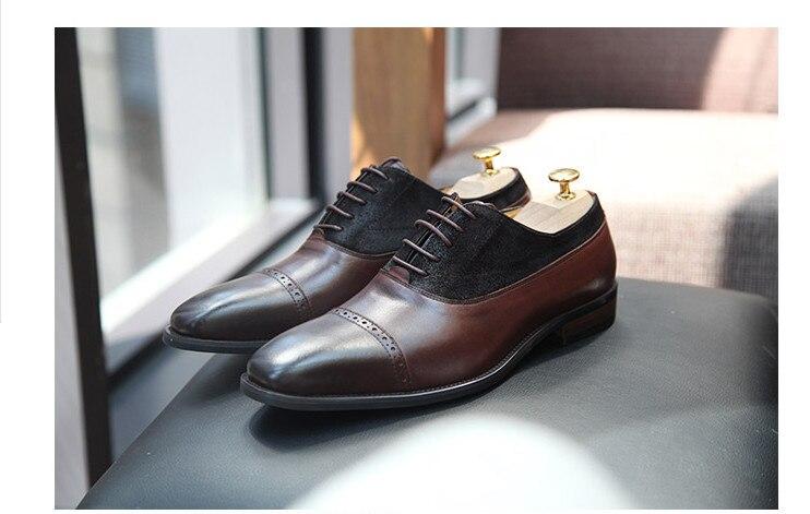 Farbe Echtem Retro Geschnitzt Stil Up Mixed Business Pic Mode Männer Leder Lace Oxfords Schuhe England Kleid As Handmade BxPUwfvq