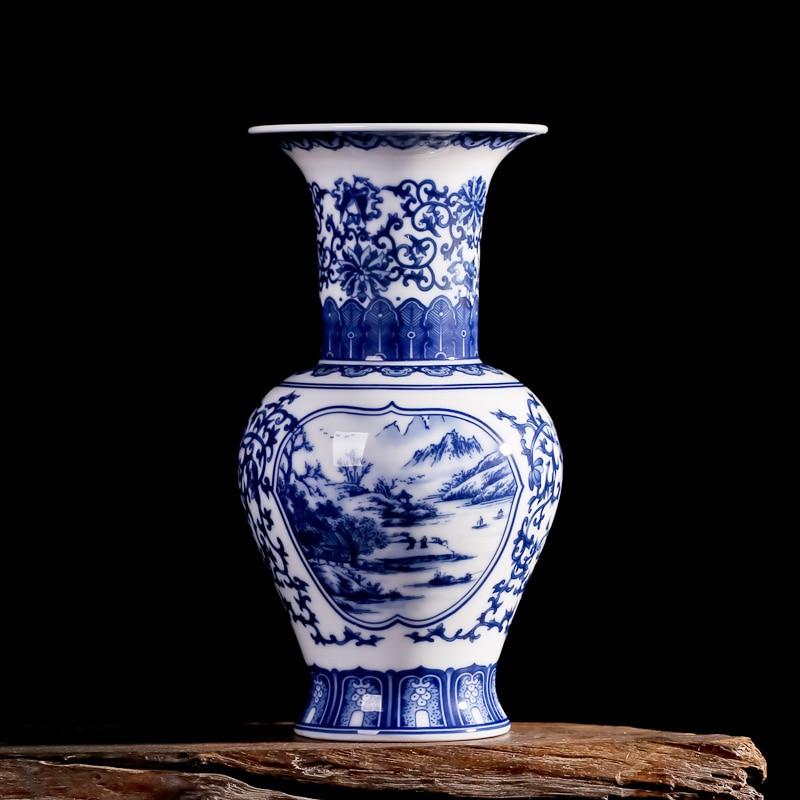 Jingdezhen Antique Underglazed Blue And White Ceramic Vase Home Decoration Crystal Glaze Ceramic Vase  Flower Decoration vase