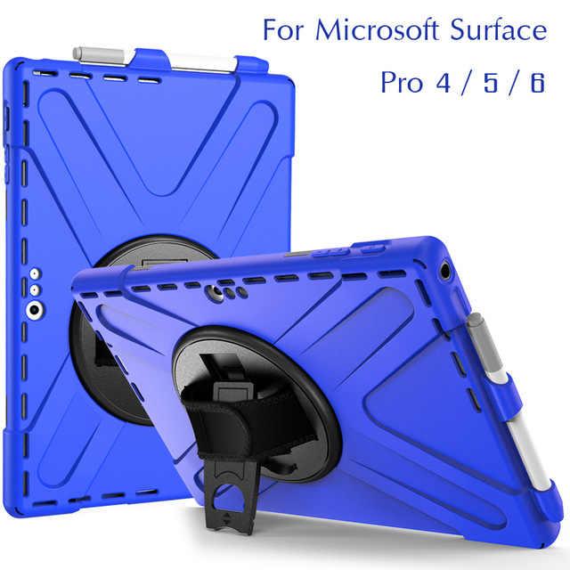 """Para Microsoft Surface Pro 4/5/6 12,3 """"tableta de silicona cubierta dura kickstand diseño mano bracel a prueba de golpes los niños caso Protector"""