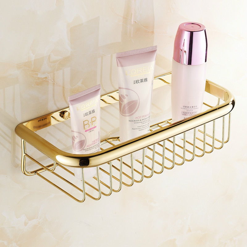 Basket:  Gold Bathroom Shelf Brass Square Net Basket Polish Finish Rack Rectangular Corner Bracket 45/30 Gold Finish Bathroom Products - Martin's & Co