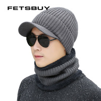 FETSBUY Winter Hat   Skullies     Beanies   Men Women Knitted Hat Scarf Winter Caps Mask Balaclava Bonnet Cap Wool Fur   Beanies   Hats 2018