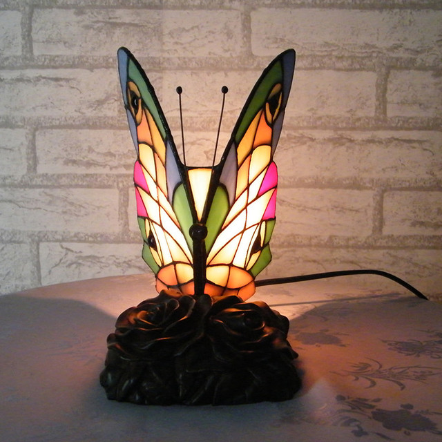 Butterfly Table Lamp Bedroom Decoration Tiffany Butterfly Night Light  Handmade Stained Glass Tiffany Desk Table Lamps