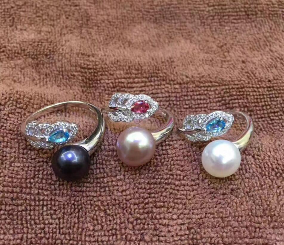 Offre spéciale nouveau Style femmes belle naturelle 8mm perle 925 solide bague en argent Sterling Sz ajustab