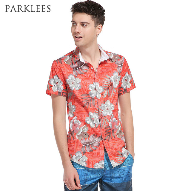 0d560e96028 Red Floral 3D Print Shirt Men Brand Design Hawaiian Shirts Cotton Chemise  Homme Quick Dry Beach