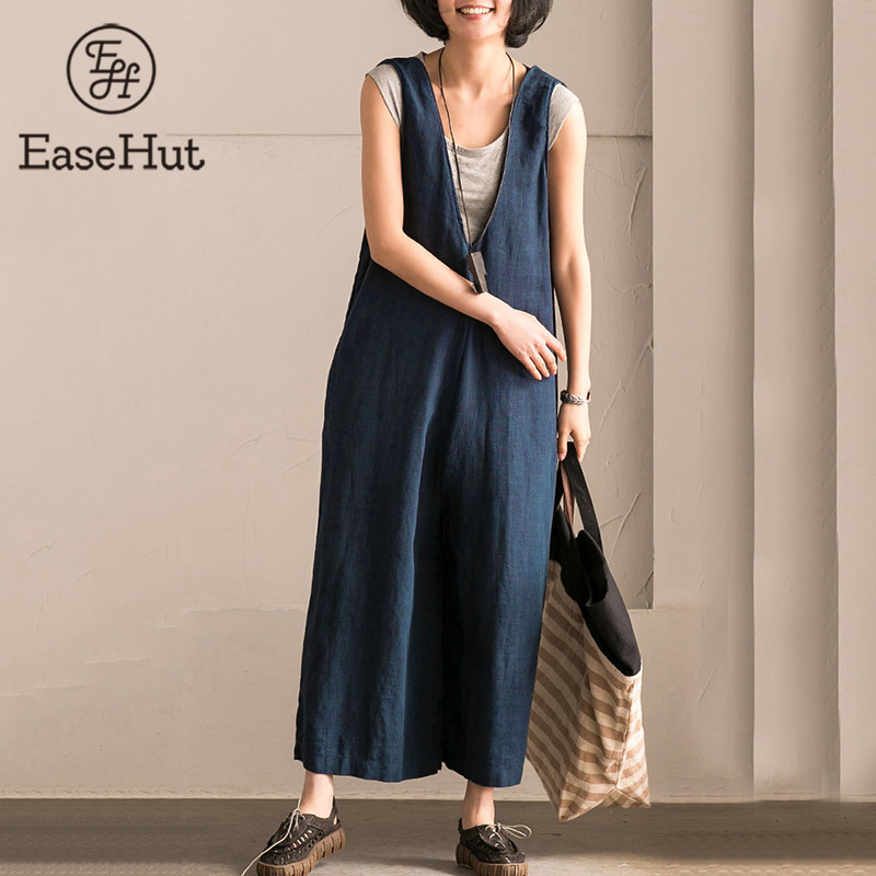 EaseHut Wide Leg Trouser Women Vintage Bib Overalls Sleeveless Strappy Solid Loose Rompers Jumpsuits Pants Plus Size 5XL macacao