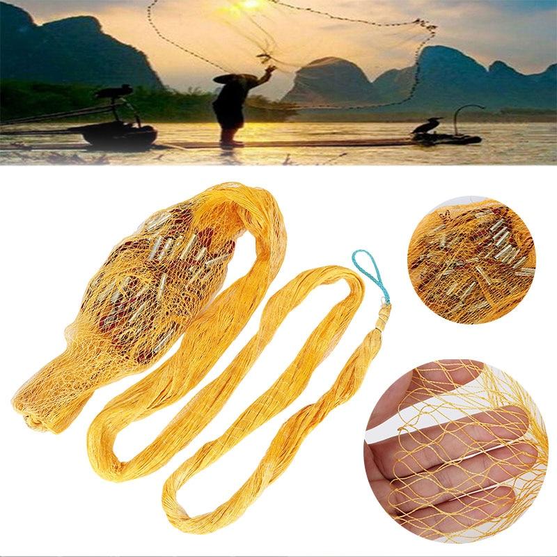 Practical Fishing Net Shrimp Cage Yellow 600 Mesh Nylon Portable Durable Folding Fishnet Crawfish Fish Line Fishery