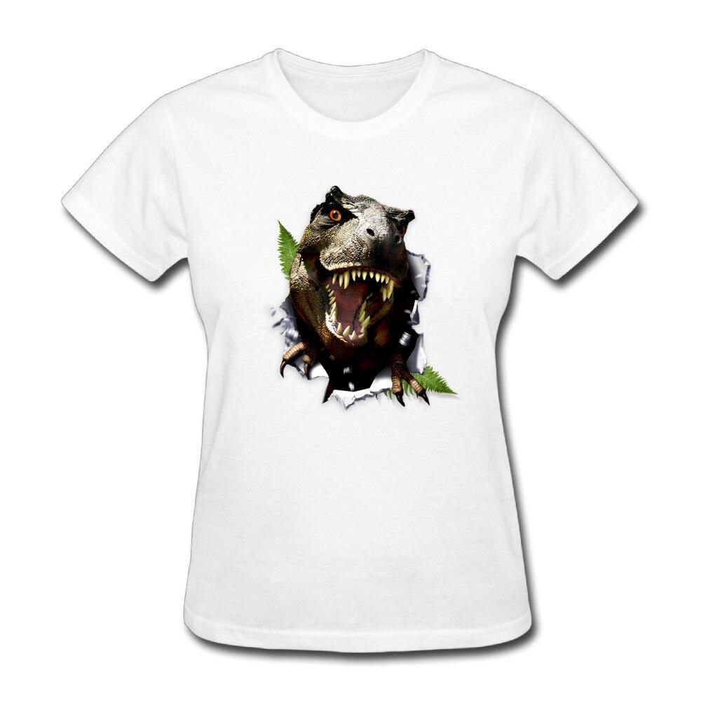 Dinosaur Personalized Cotton Print O-Neck Short Sleeve T-shirts White Tshirt Lady Sexy T shirt Feminina
