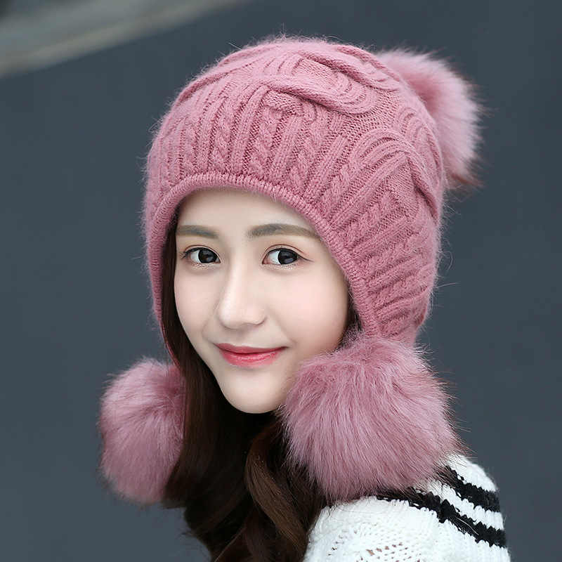 43336890a Women Winter Cute Knitted Beanie Hat Woolen Faux Fur Thick Ball Pom ...