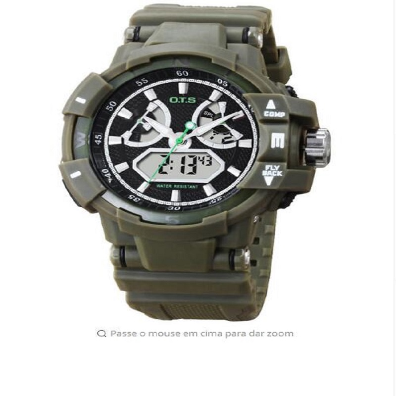 OTS 8061 Grand Dial Military Table Mens Sports Fashion Watch PU Dual Time Digital Mens WatchOTS 8061 Grand Dial Military Table Mens Sports Fashion Watch PU Dual Time Digital Mens Watch
