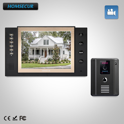 HOMSECUR 8 Wired Hands-free Video&Audio Smart Doorbell+Dual-way Intercom TC011-B + TM801R-B homsecur 8 wired hands free video door entry security intercom lcd color screen tc011 w tm801r b