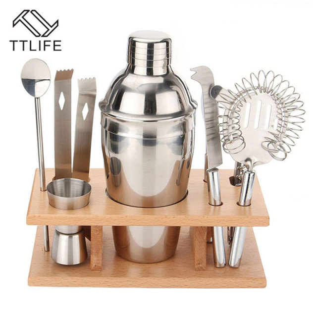 cc36c8a0a6eca TTLIFE 8 pcs Cocktail Shaker Set 350ml Professional Stainless Steel Cocktail  Maker Jigger Ice Strainer Clip Spoon Bar Tools Set