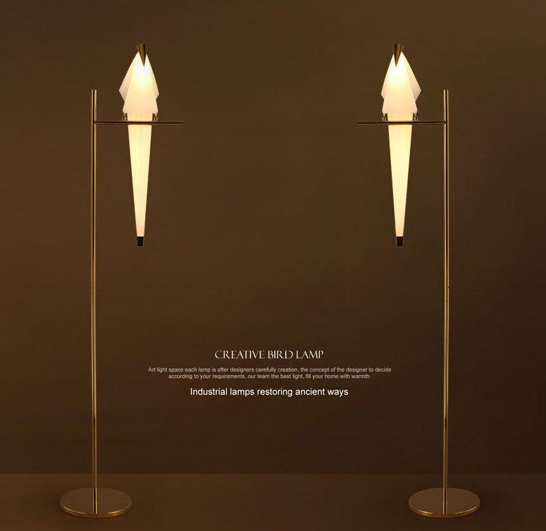 Papel moderno pássaros lâmpada de pé estúdio