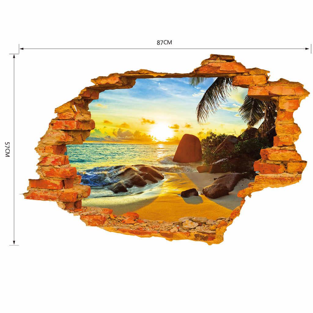 DIY 3D playa paisaje pared pegatinas removibles niños guardería hogar telón de fondo decoración Mural arte calcomanía autocollant mural habitación Decoración