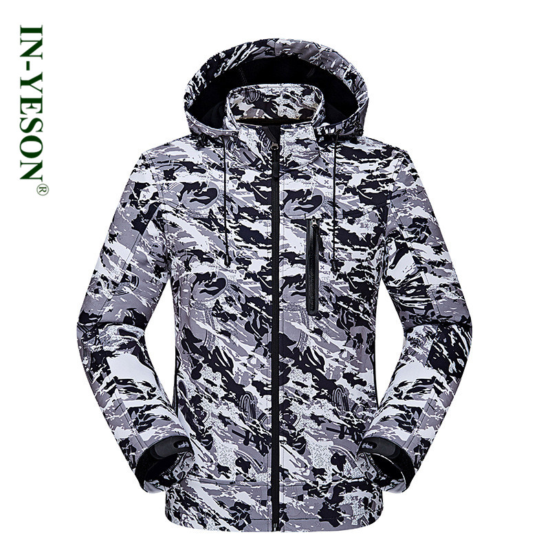 IN-YESON Brand Waterproof Softshell Men Breathable Camouflage Windbreaker Outdoor Trekking Ski Camping & Hiking Jacket Men in yeson brand winter outdoor windbreaker for lovers waterproof thick thermal fleece liner ski hunting hiking jacket men women