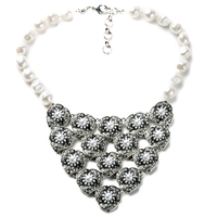 Fashion New Bohemia Chic Design Crystal Flower Necklaces For Women 2015 Vintage Pearl Choker Necklace