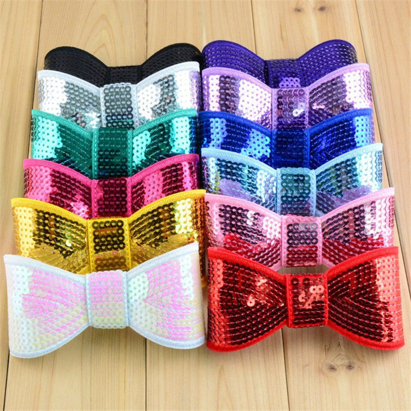 """10pcs/lot 4.5"""" Big Sequin Bows Large Bling Applique Bow For girl Headband Bow Hair Accessories 29 Color U Pick HDJ09"""