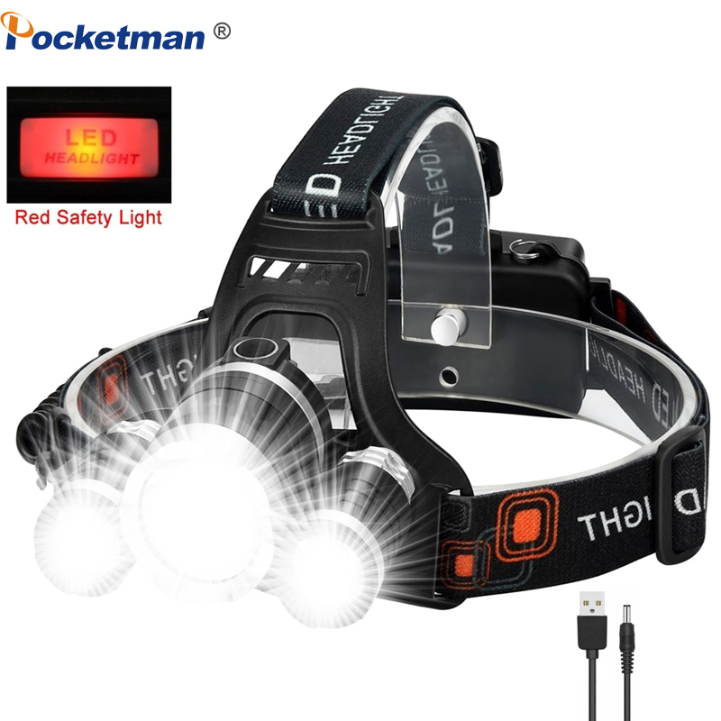 Portable T6 LED Headlamp Headlight Flashlight Head Lamp LED Torch Light For Outdoor Camping Fishing With USB Charger