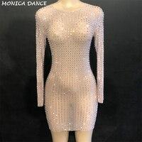 Для женщин блестящие серебряные полный стразы сетки перспектива платье Вечеринка Роскошные Длинные рукава платье на день рождения платье