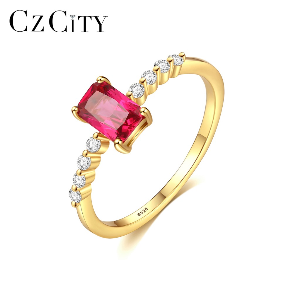 CZCITY Mystic Princess Cutting Topaz Wedding Ring For Women 925 Silver Sterling Bridal Promise Gemstone Ring Fine Jewelry Gifts