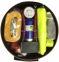 Mini emergency kits for driving with warning triangles,air pump and gloves car roadway safety necessaries