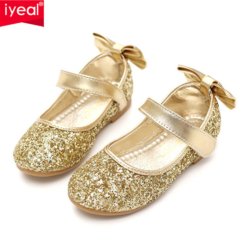 Detail Feedback Questions about IYEAL Kids Shoes Pu Leather Sequins Glisten  Gold Baby Girls Shoes With Bow Silver Flower Princess Party Soft Toddler  Flats ... 772aade75969