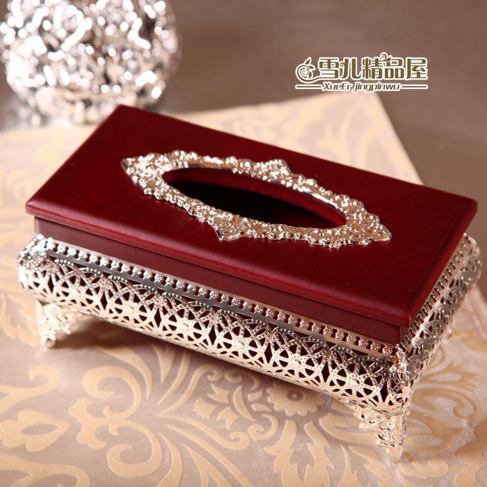 Haute qualité acajou argent argent boîte creuse papier serviette tube serviette boîte en bois ornements, atmosphère haut de gamme