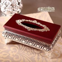 High-grade mahogany silver hollow box paper towel tube napkin wooden ornaments, high-end atmosphere