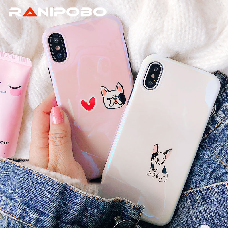 Funny Bulldog Puppy Dog Soft Phone Case Fundas Coque For iphone 7 7Plus 6 6S 6Plus 8 8Plus X Cartoon Love heart Back Cover Cases