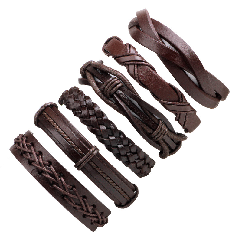 LASPERAL 1set/6pcs Vintage Charm Leather Bracelets For Women Men Bible Cuff Bracelet & Bangle Male Wristband Jewelry Decor