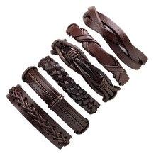 LASPERAL 1set/6pcs Vintage Charm Leather Bracelets For Women